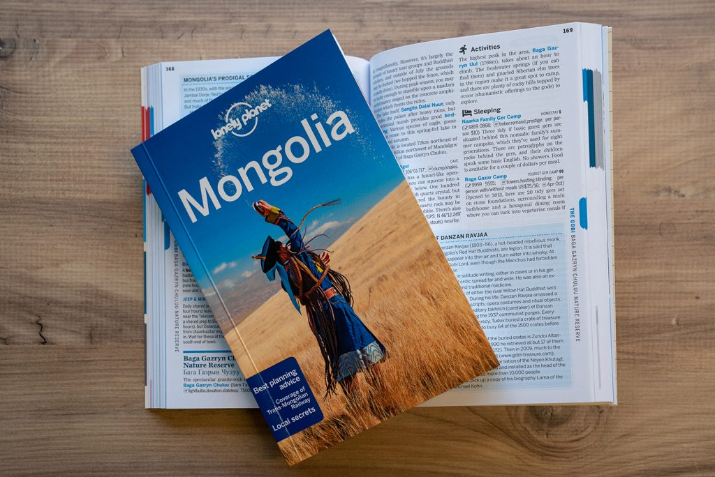 The lonely planet guide for Mongolia