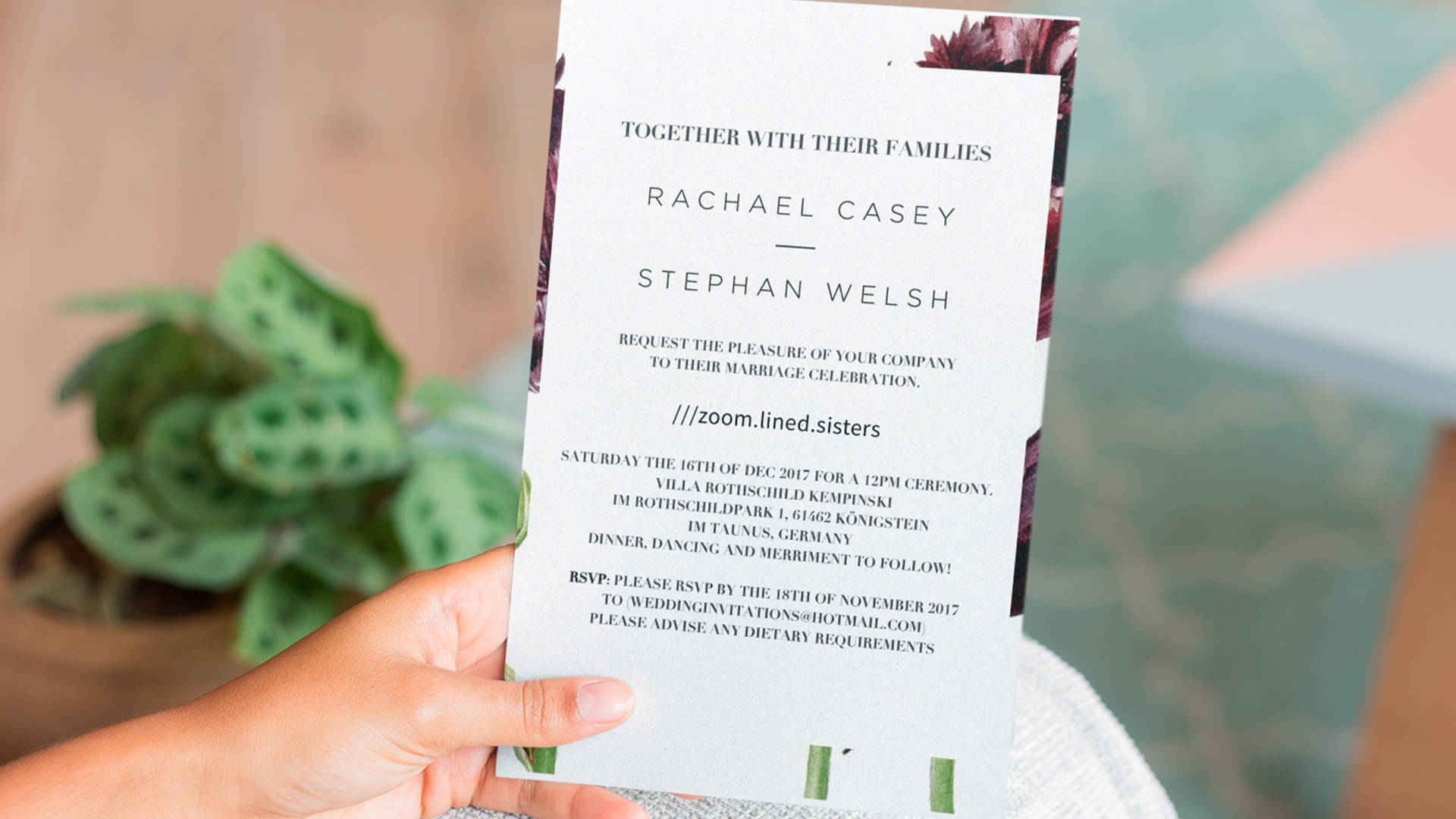 A wedding invitation with a what 3 words address on it