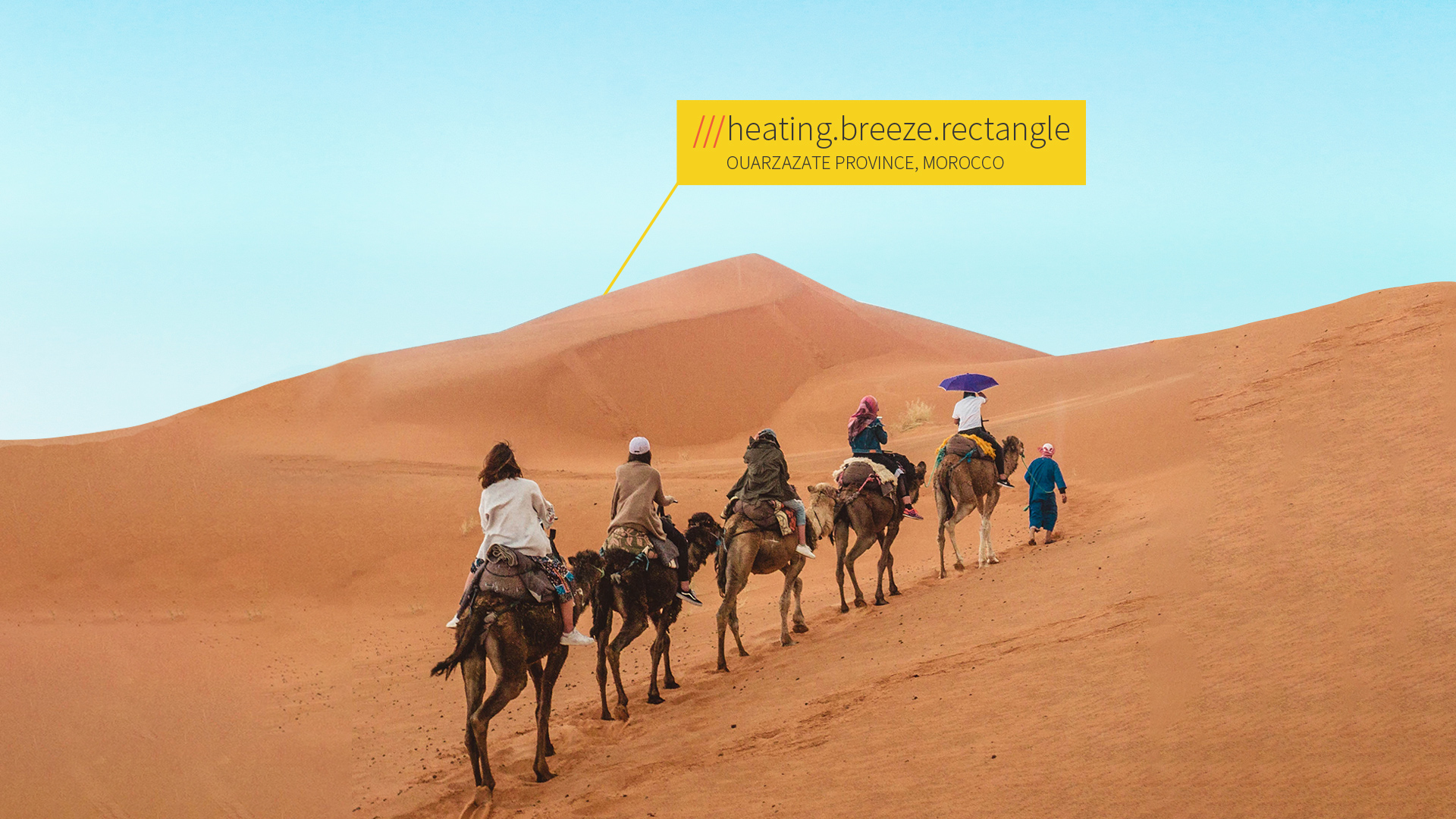 tourists riding camels in desert at 3 word address heating.breeze.rectangle