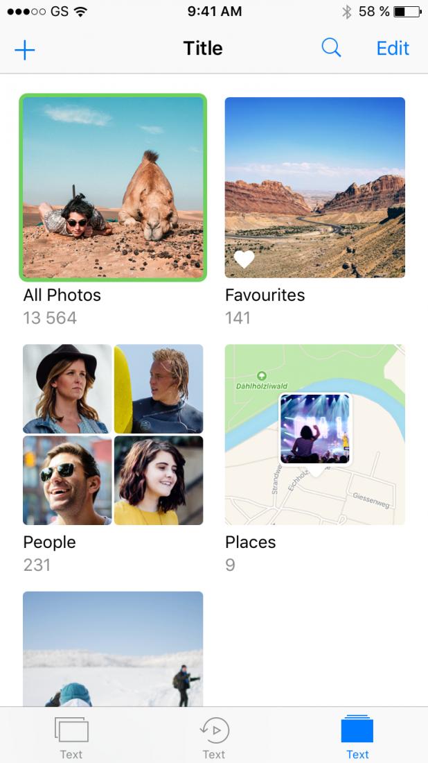 screenshot of iPhone albums