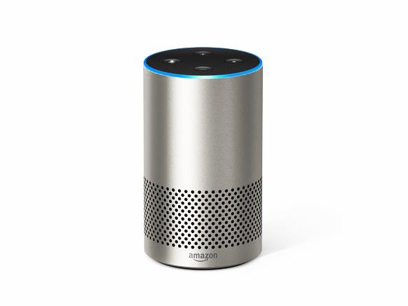 A silver amazon Alexa