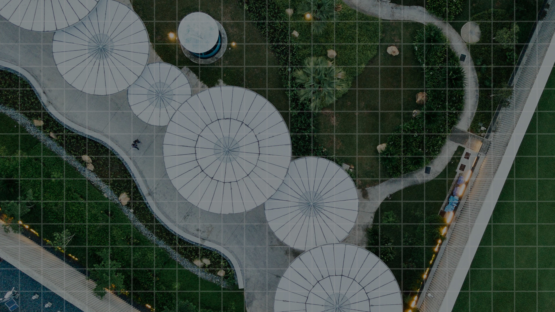 birds eye view of circular buildings
