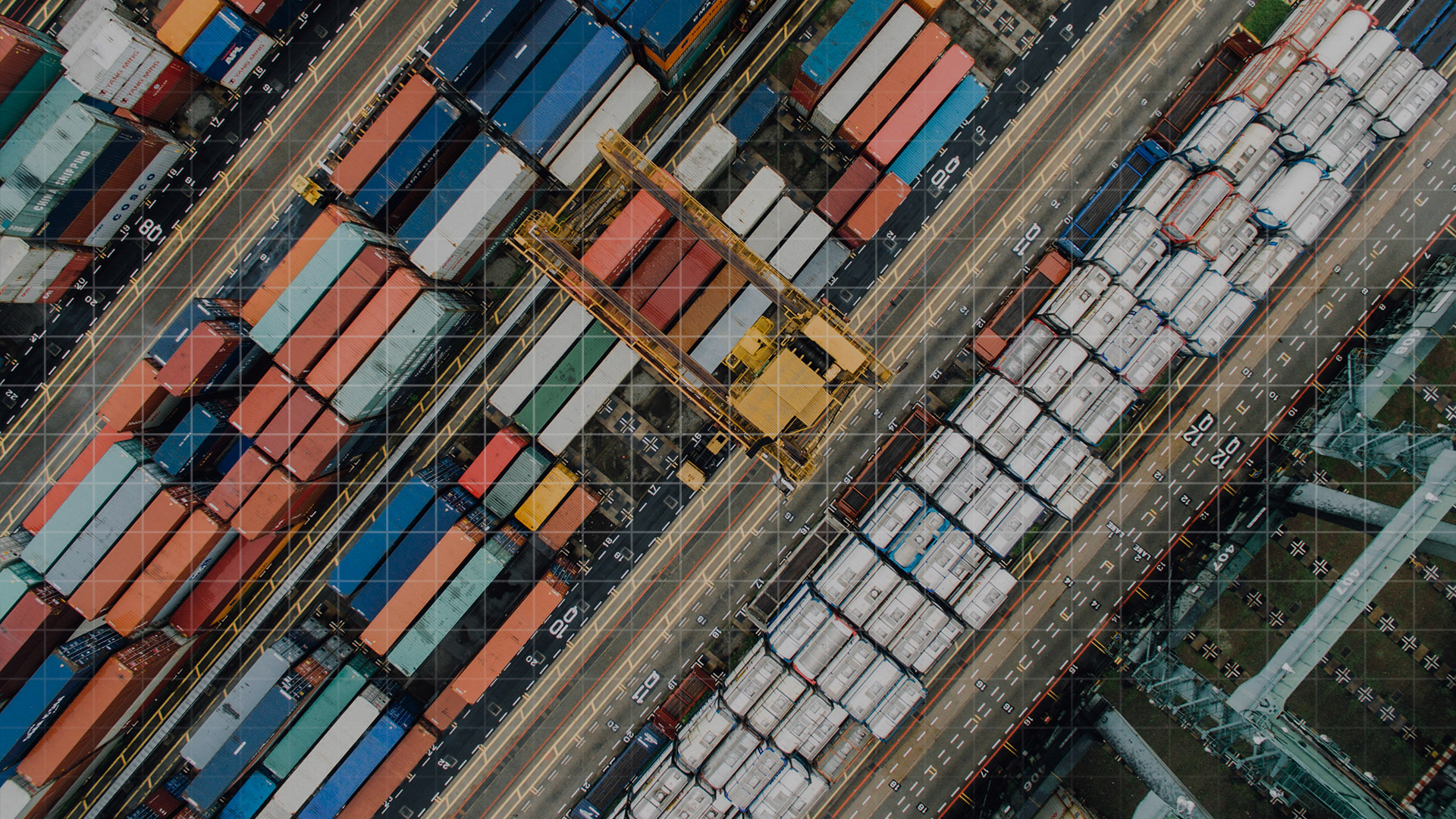 birds eye view of containers