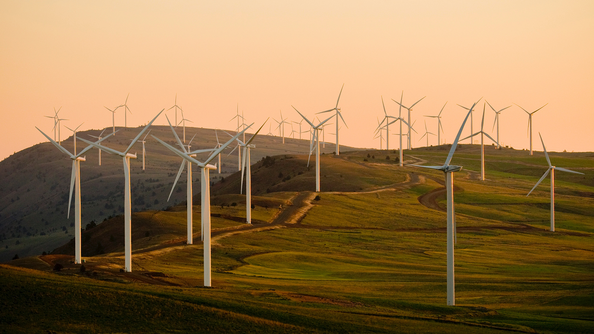 wind turbines across the countryside at sunset