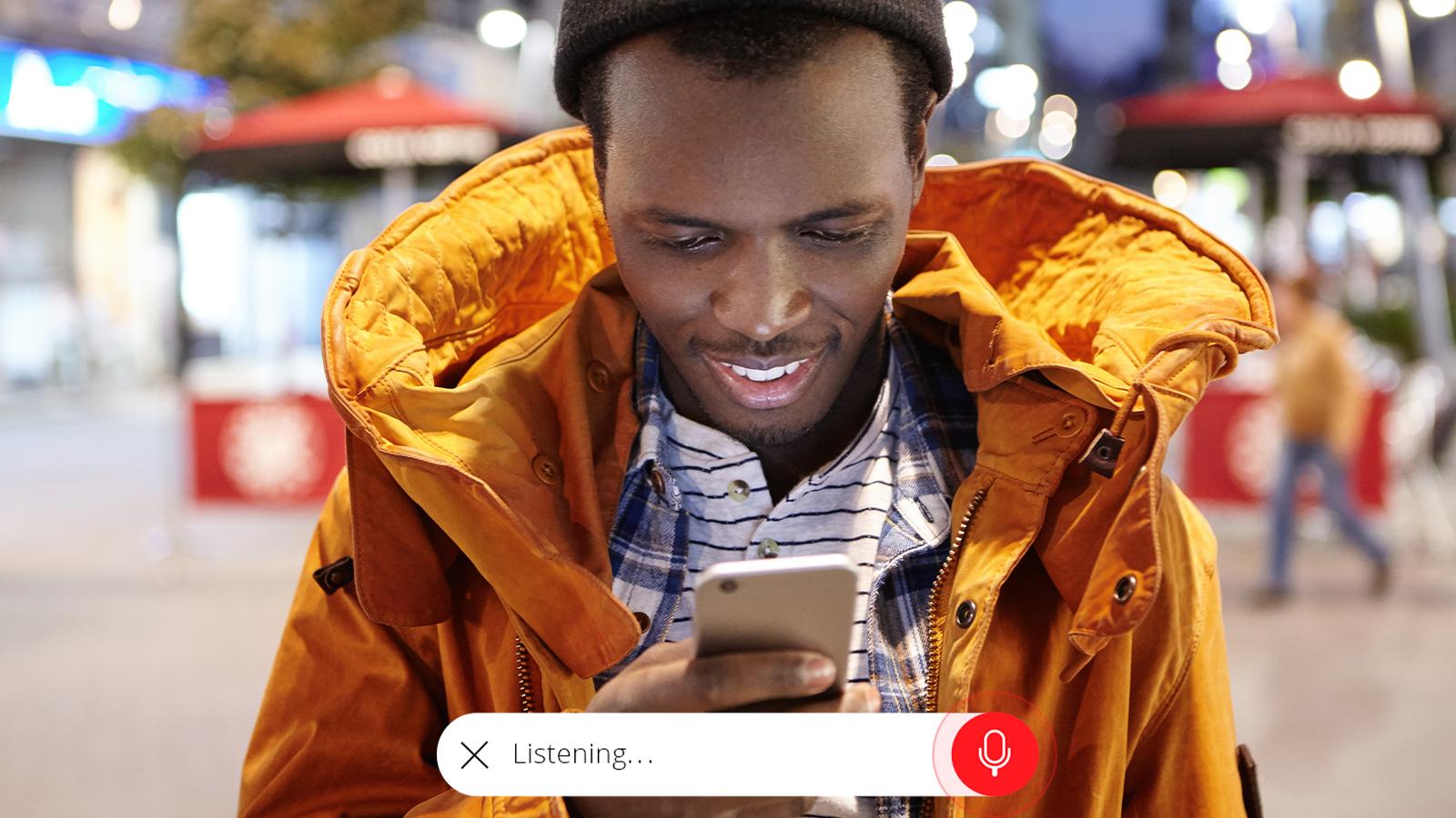 man using voice interface