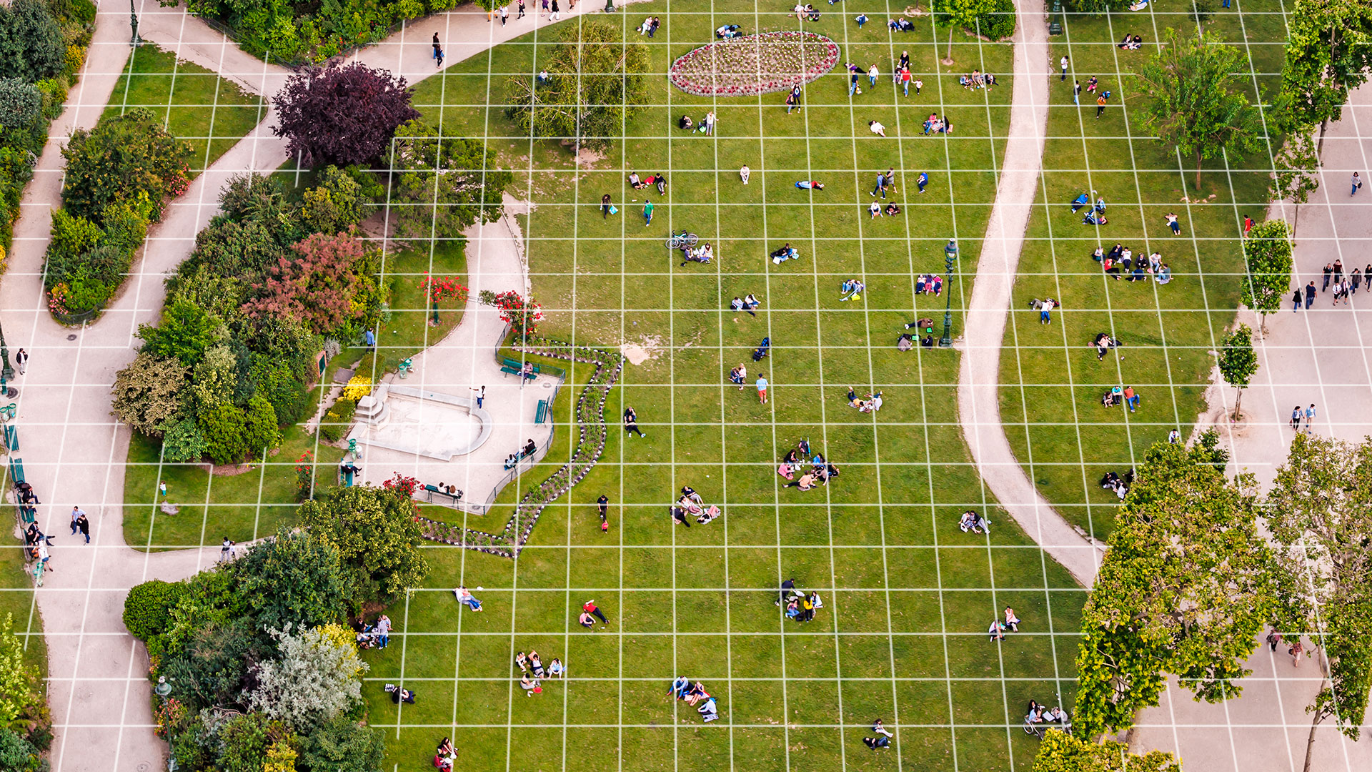 groups of friends sitting in park with a grid over the image