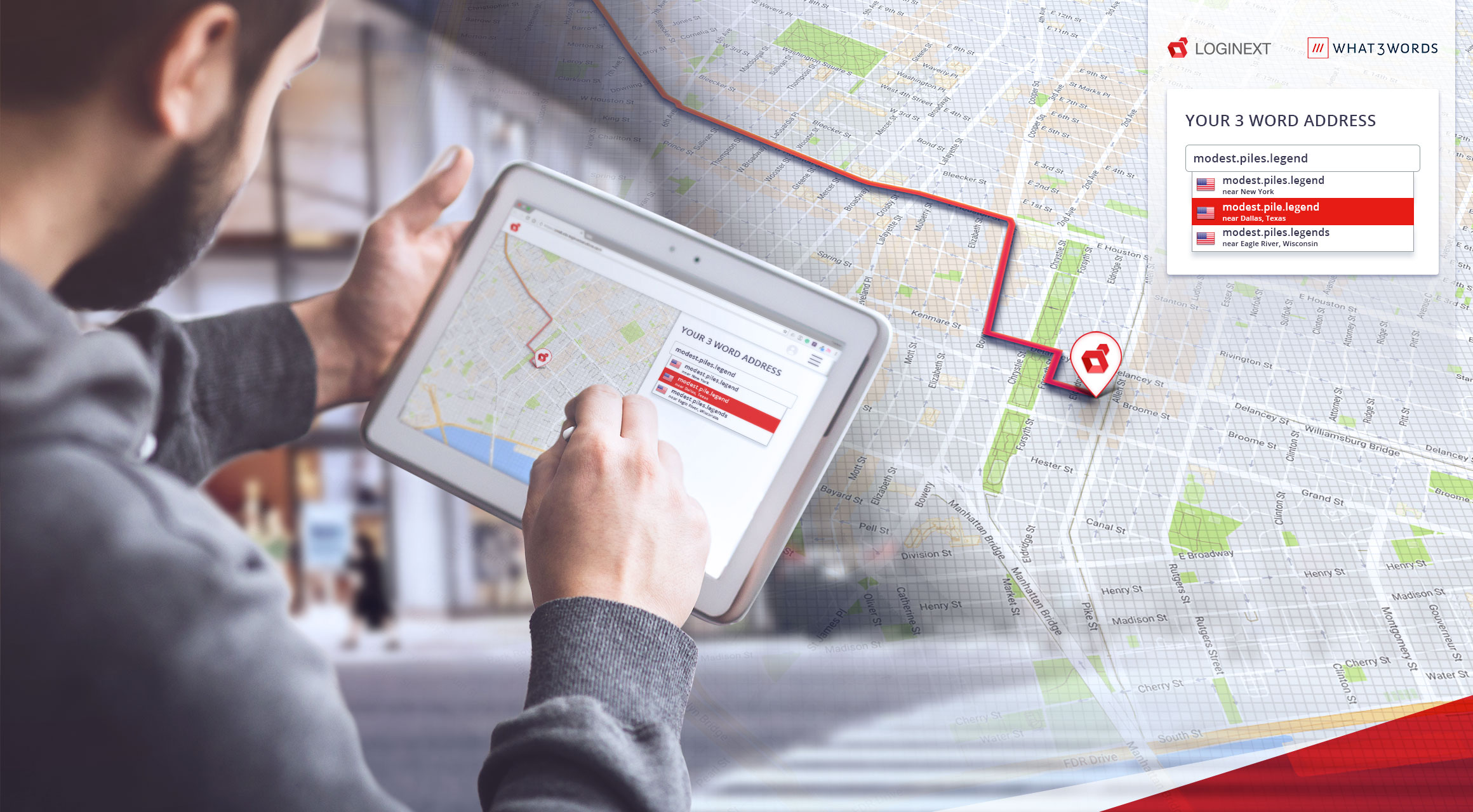 man using smart tablet with a what 3 words  address