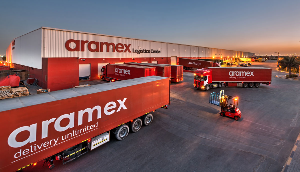 aramex lorries at logistics centre
