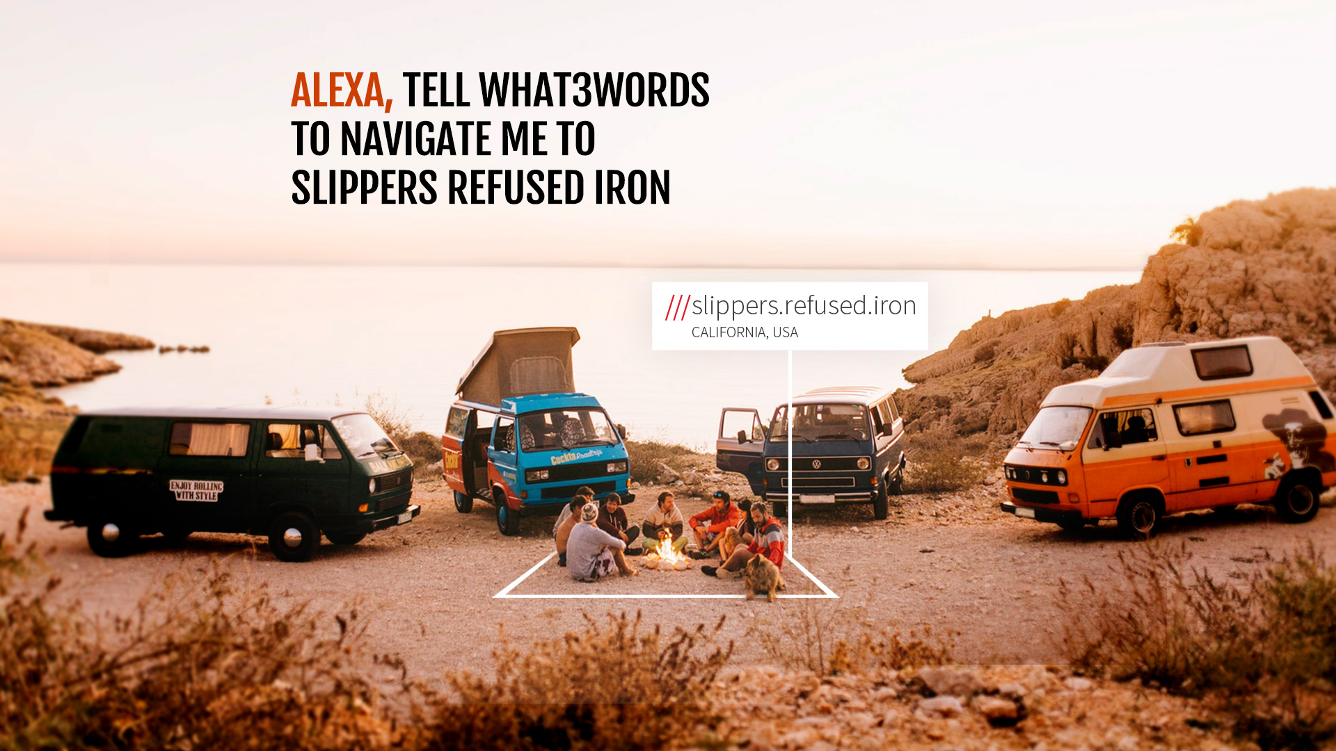Group of friends sitting around a campfire on a beach at 3 word address Slippers.Refused.Iron
