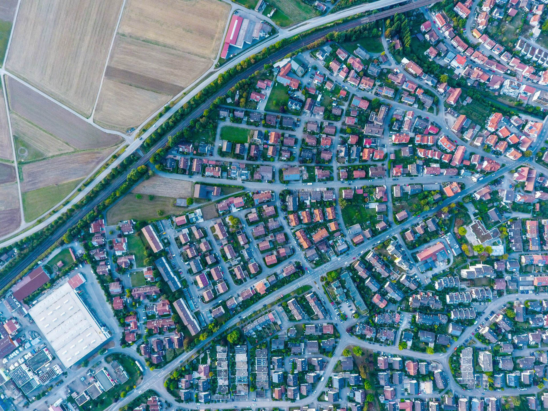 An area of suburban houses