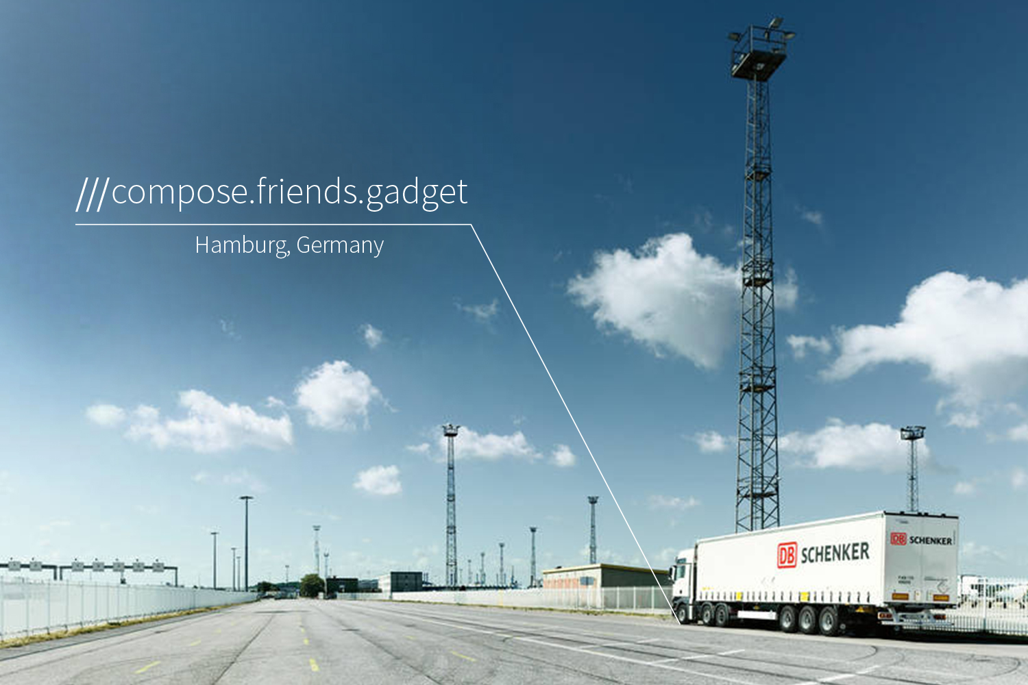road with lorry parked at 3 words address compose.friends.gadget