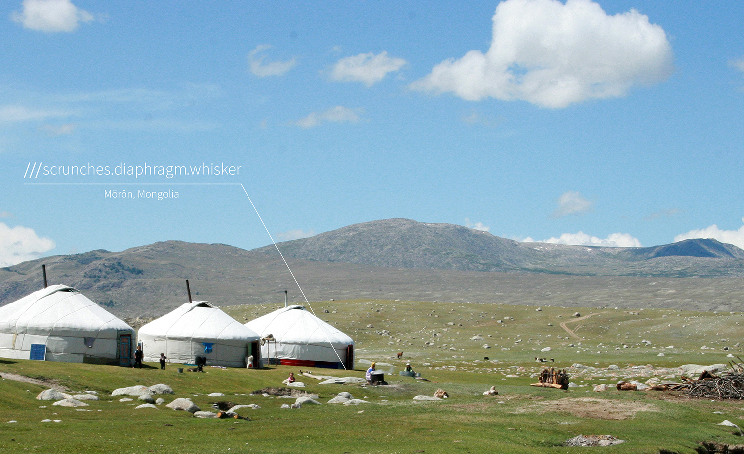 traditional Mongolian houses in fields at 3 word address scrunches.diaphragm.whisker