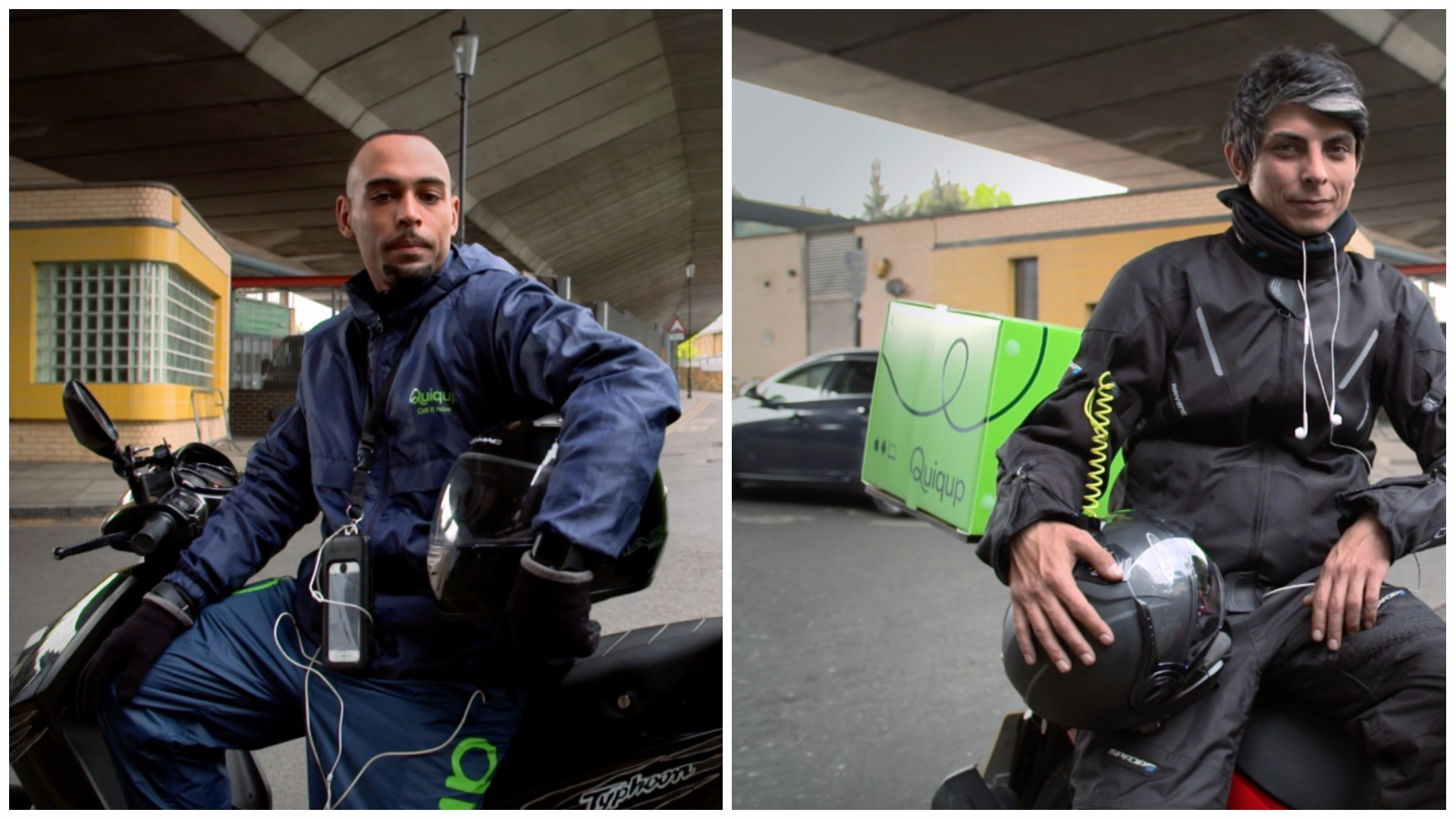 a collage of two deliverymen on  motorcyclists