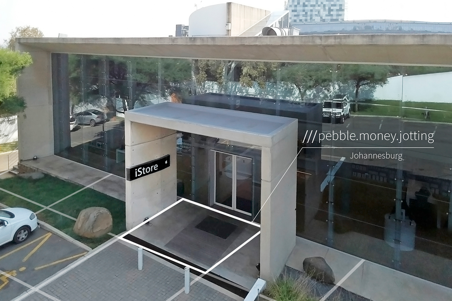 modern building at 3 word address pebble.money.jotting