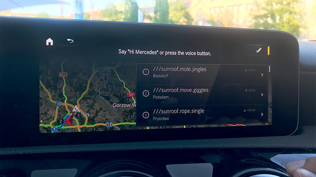 navigation system in a car
