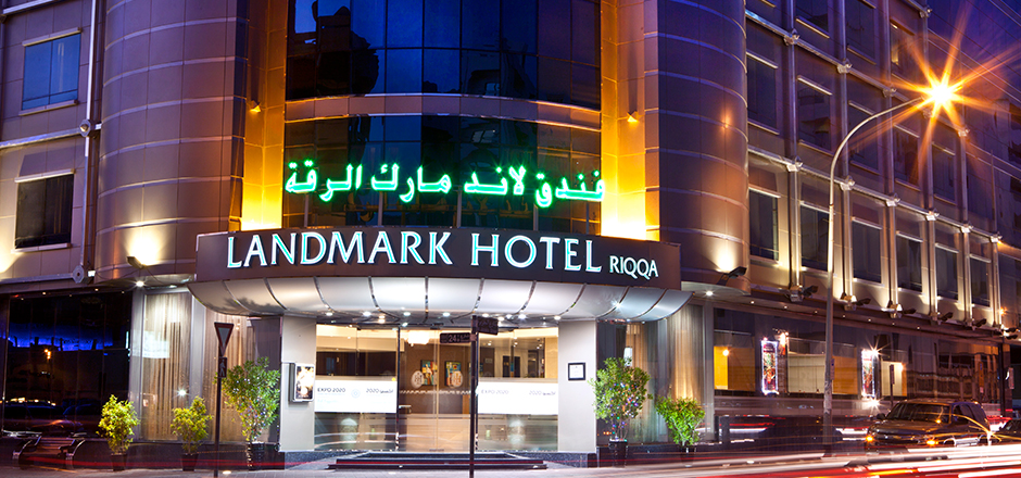 outside the Landmark hotel RIQQA at nighttime