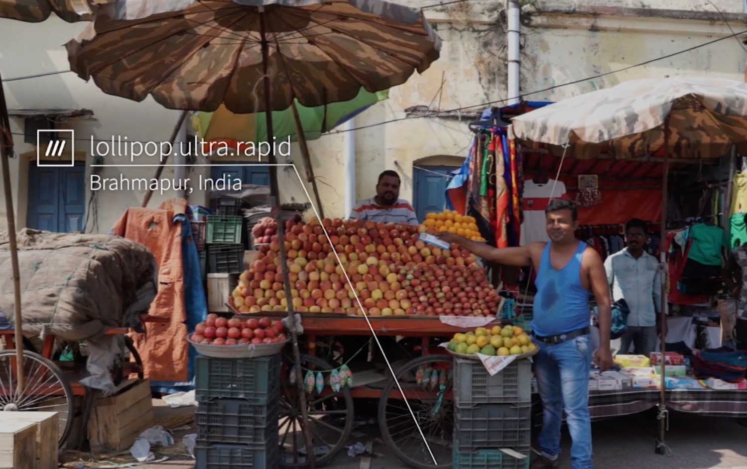 fruit stall in market at 3 word location lollipop.ultra.rapid