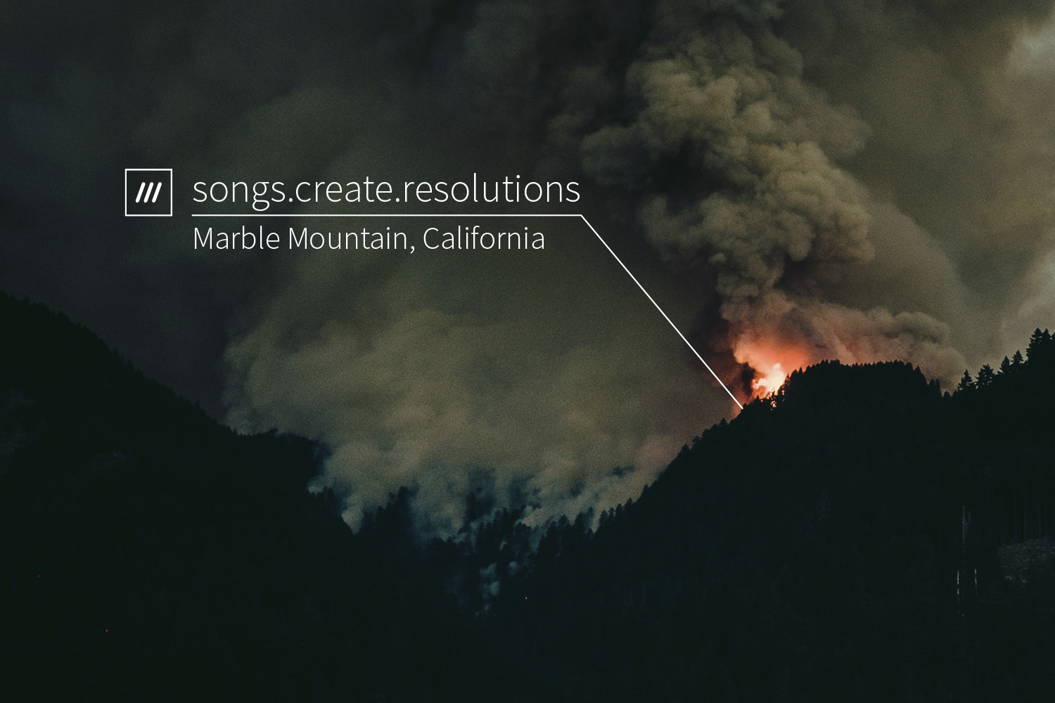 Forest fire at night at 3 word location songs.create.resolutions