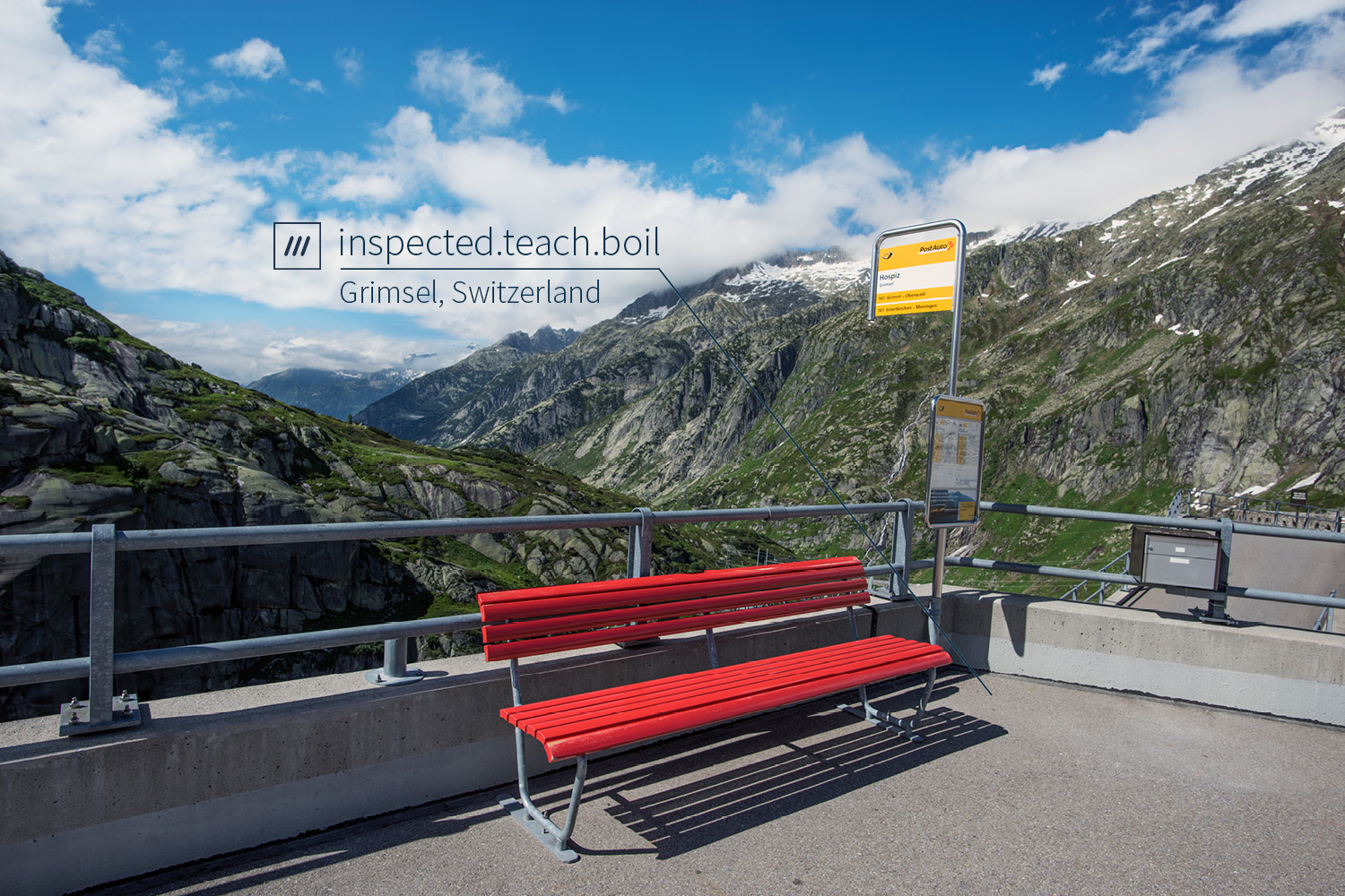 viewing platform with bench looking at mountainous landscape at 3 word address inspected.teach.boil