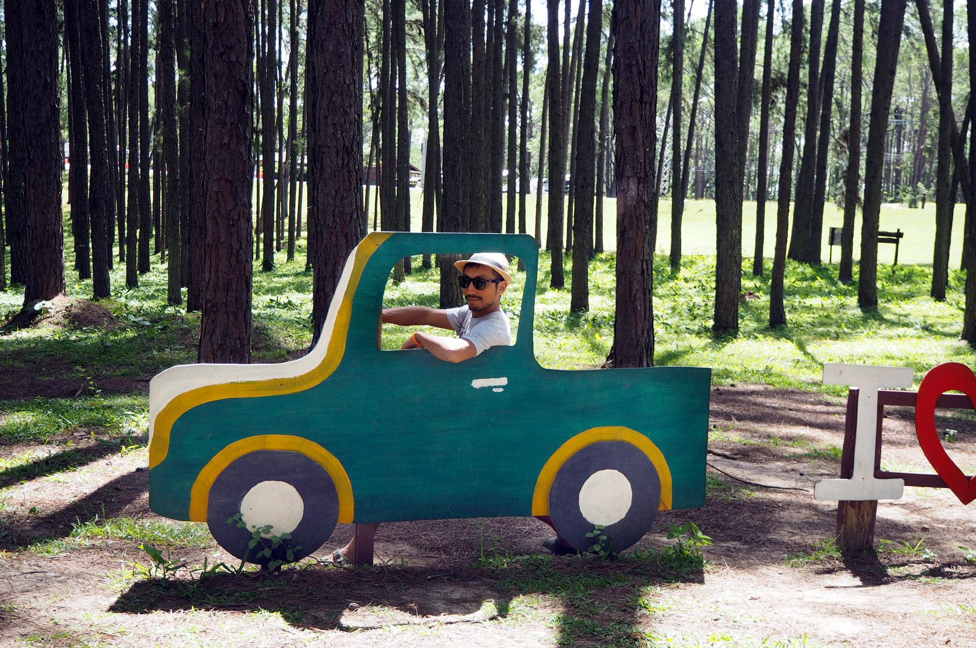 man posing in cardboard cut out of a car