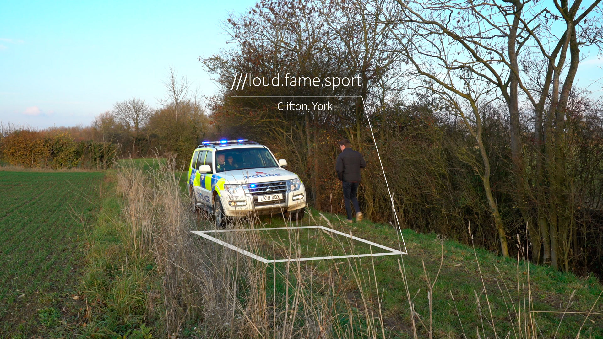 Police emergency response to field at 3 word location loud.fame.sport