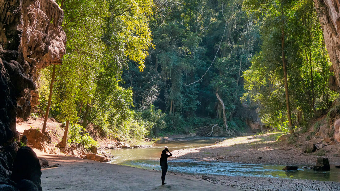 woman taking a photo next to a river under the tree line