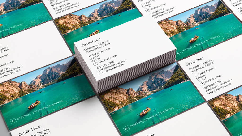 Personalised client cards with a what 3 words address printed on