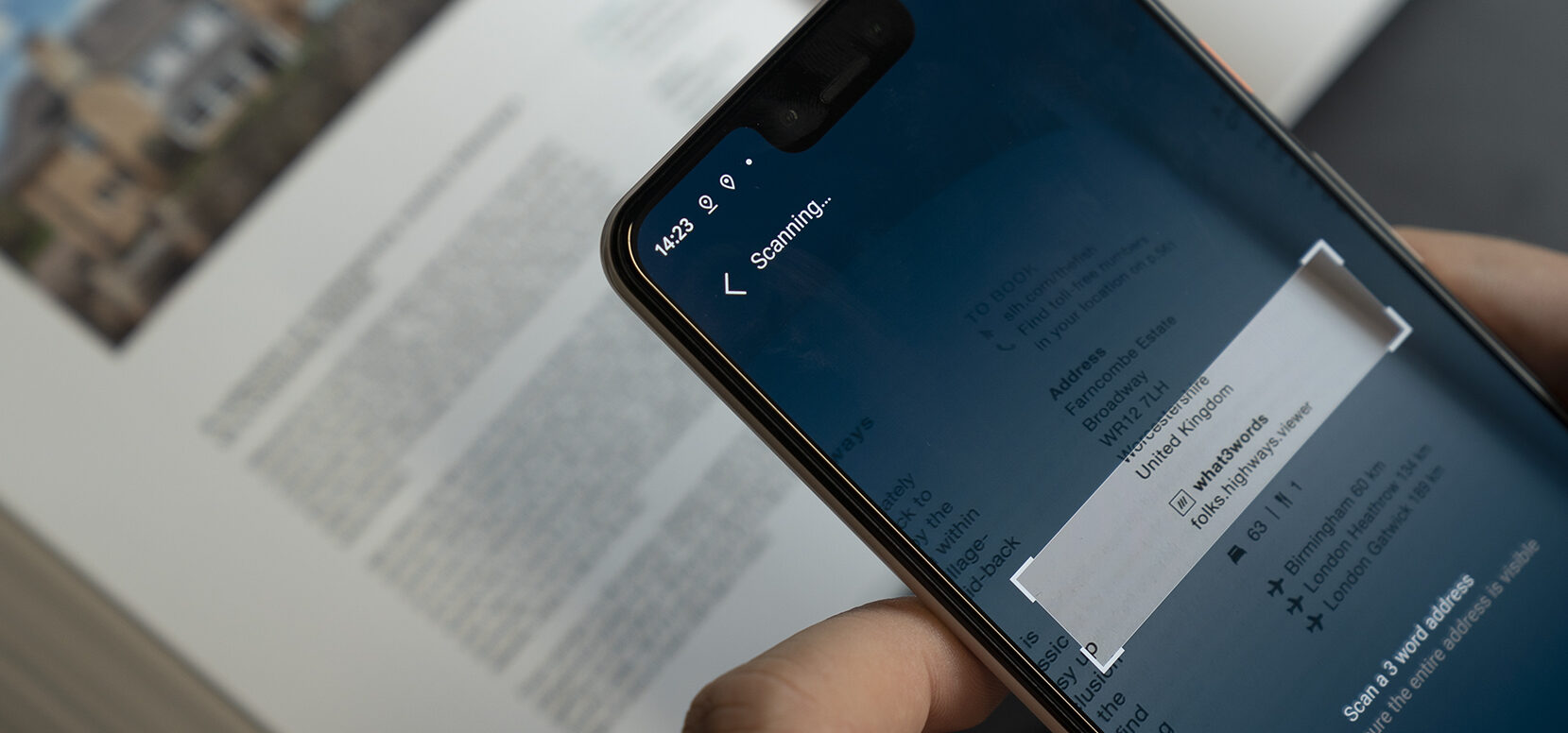 smartphone scanning a 3 word address