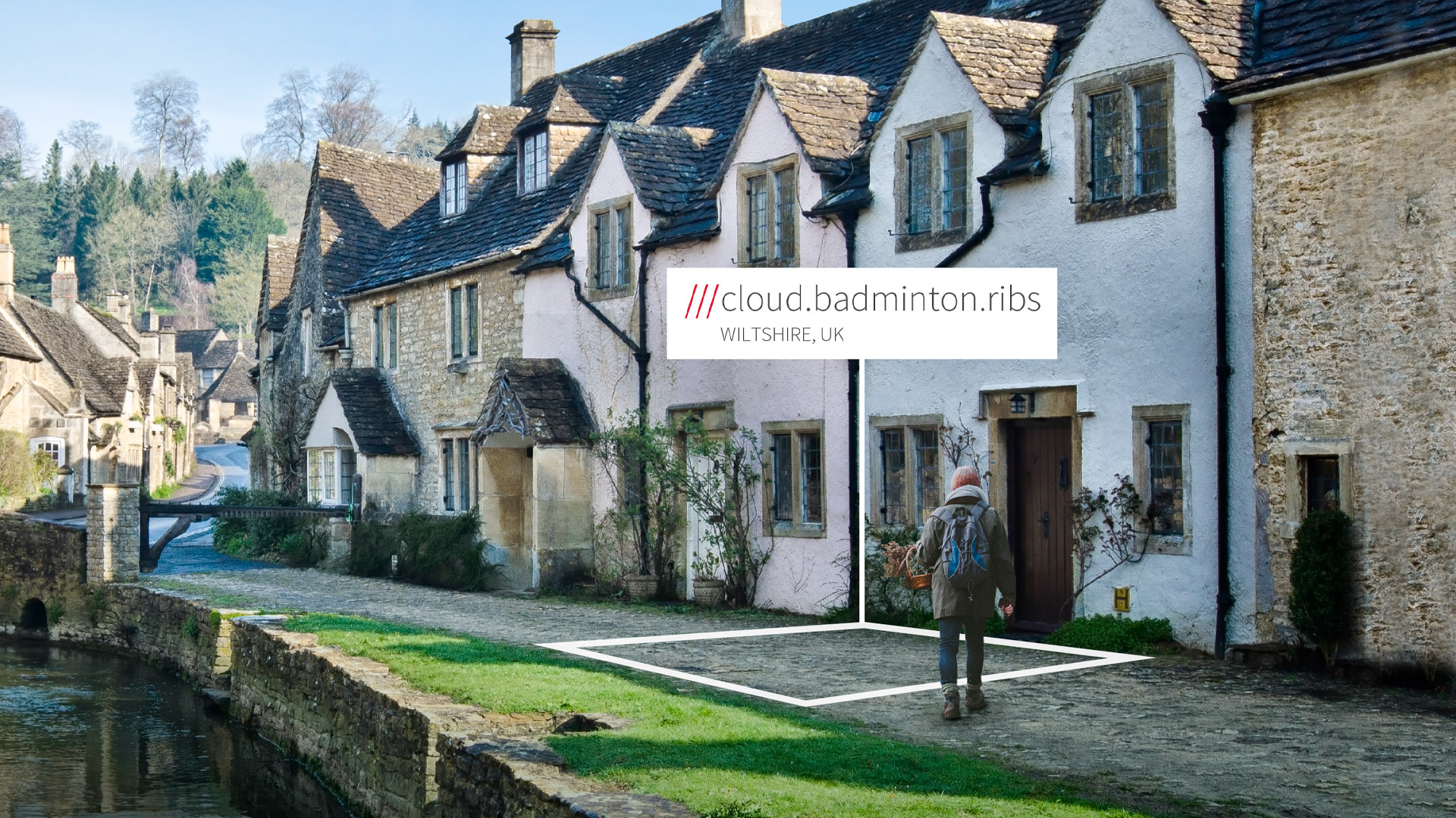 cobbled street with cottages at 3 word address cloud.badminton.ribs