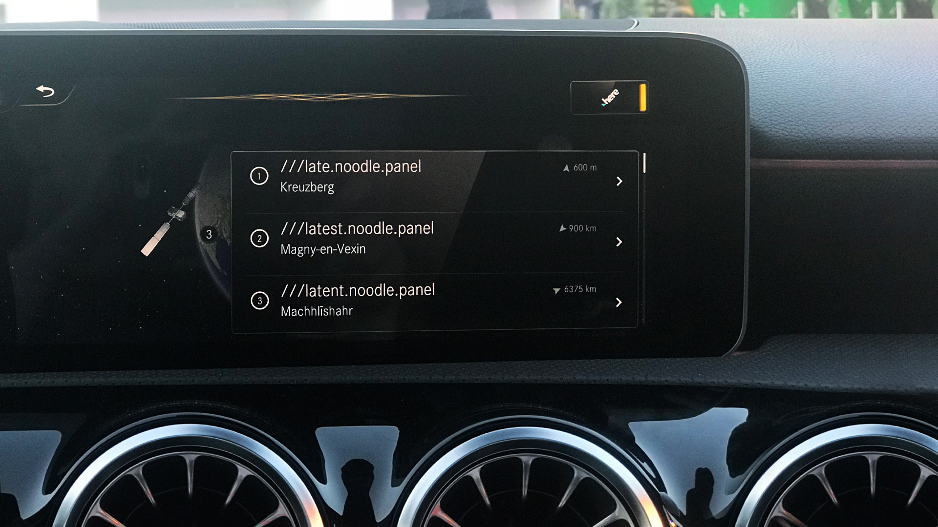 Mercedes navigation system using a what 3 words address