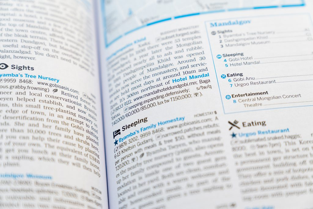 A page form Lonely planet guide