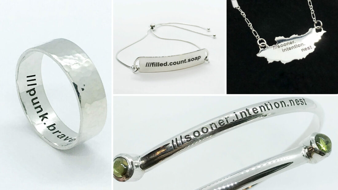 a collage of personalised silver jewellery using what 3 words