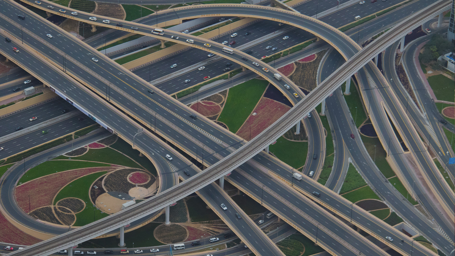 Highways and roads crossing over each other