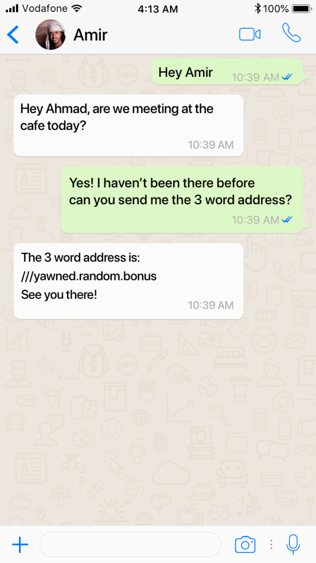 Whatsapp conversation with friends using what 3 words location