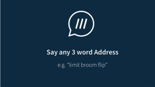 Voice search 'say any 3 word address'