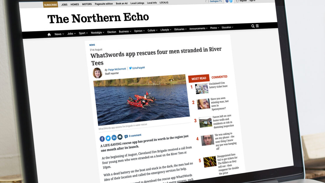 What 3 words in The Northern Echo news