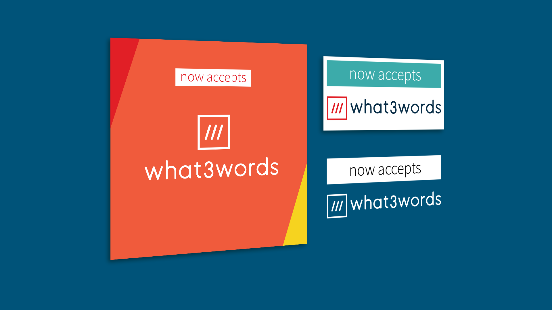 collage of what 3 words 'now accepts'
