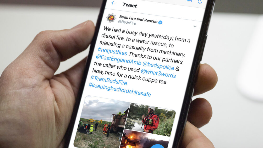 Tweet 'We had a busy day yesterday; from a diesel fire, to a water rescue, to releasing a casualty from machinery. #notjustfires Thanks to our partners @EastEnglandAmb @bedspolice & the caller who used @what3words Now, time for a quick cuppa tea. #TeamBedsFire #keepingbedfordshiresafe'