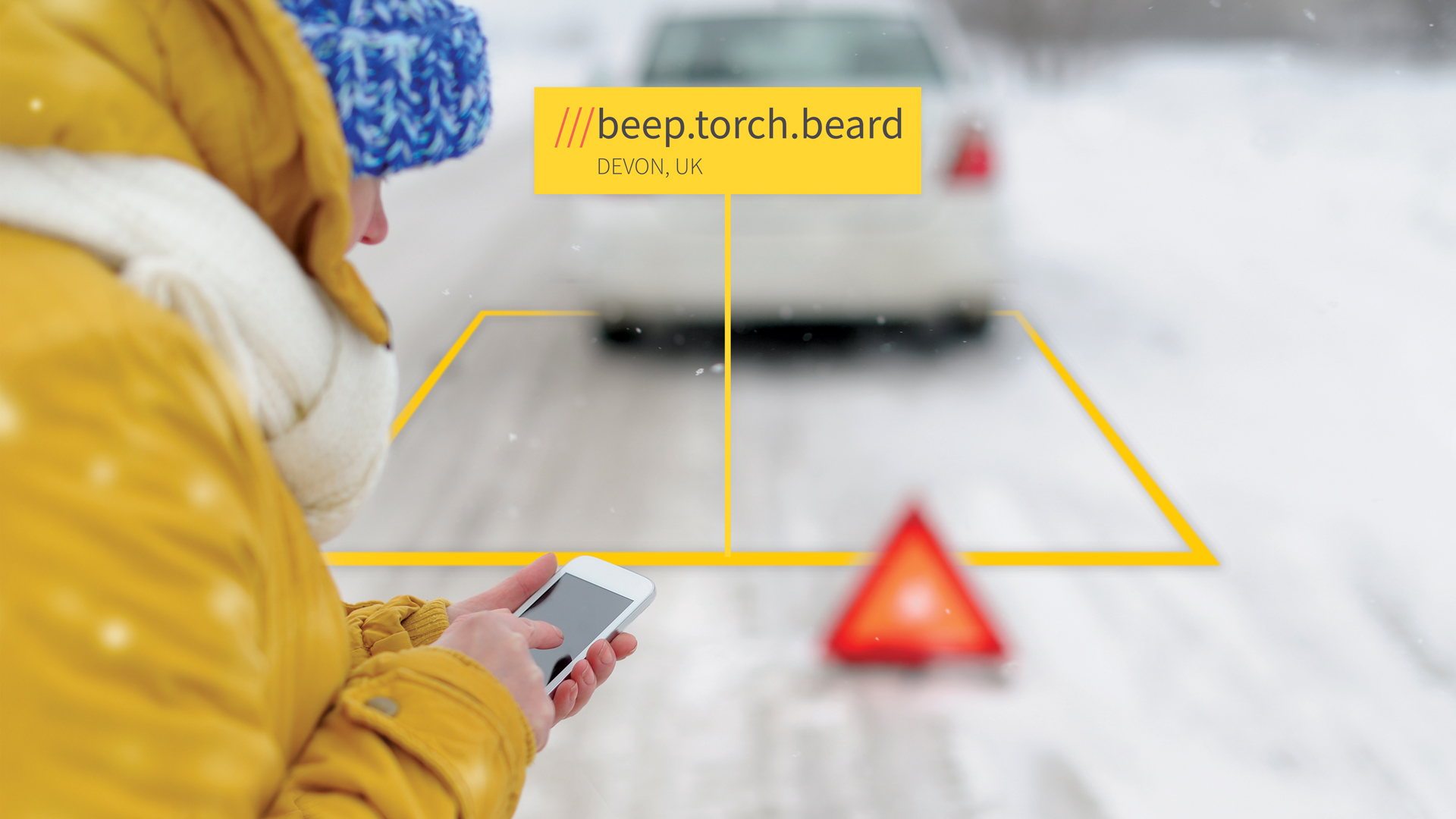 Snowy background with a car at 3 words address Beep.Torch.Beard used by the AA