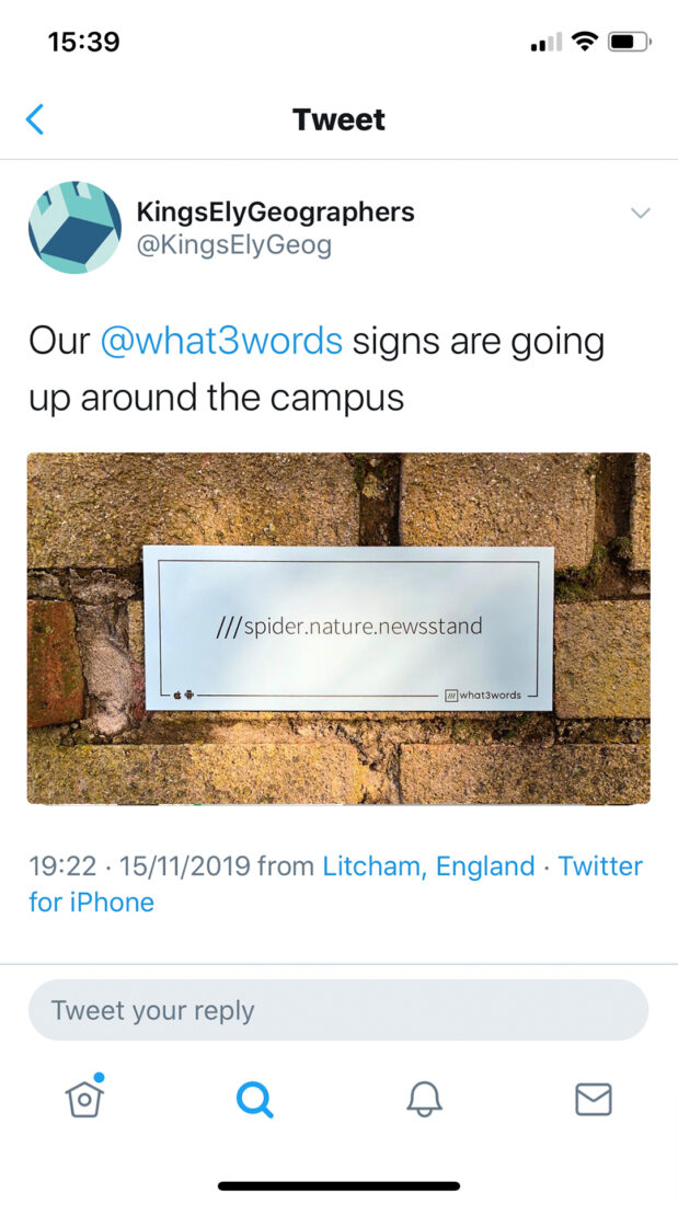 Tweet 'Our @what3words signs are going up around the campus'