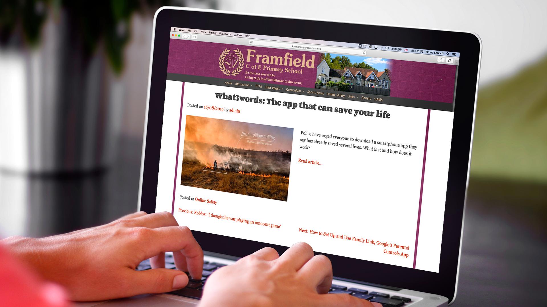website of Framfield emergency news on a laptop