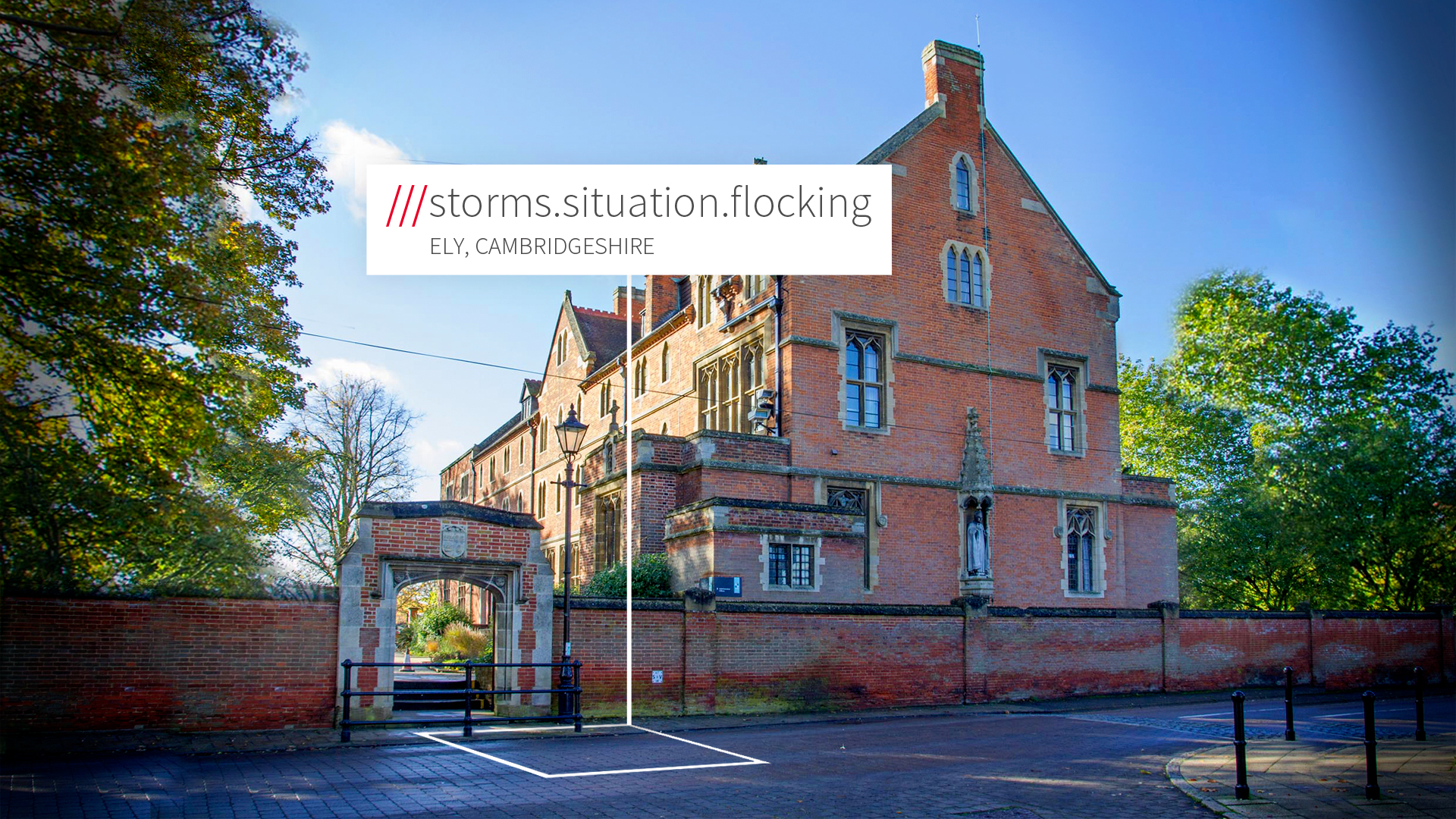 Redbrick school at 3 words location Storms.Situation.Flocking