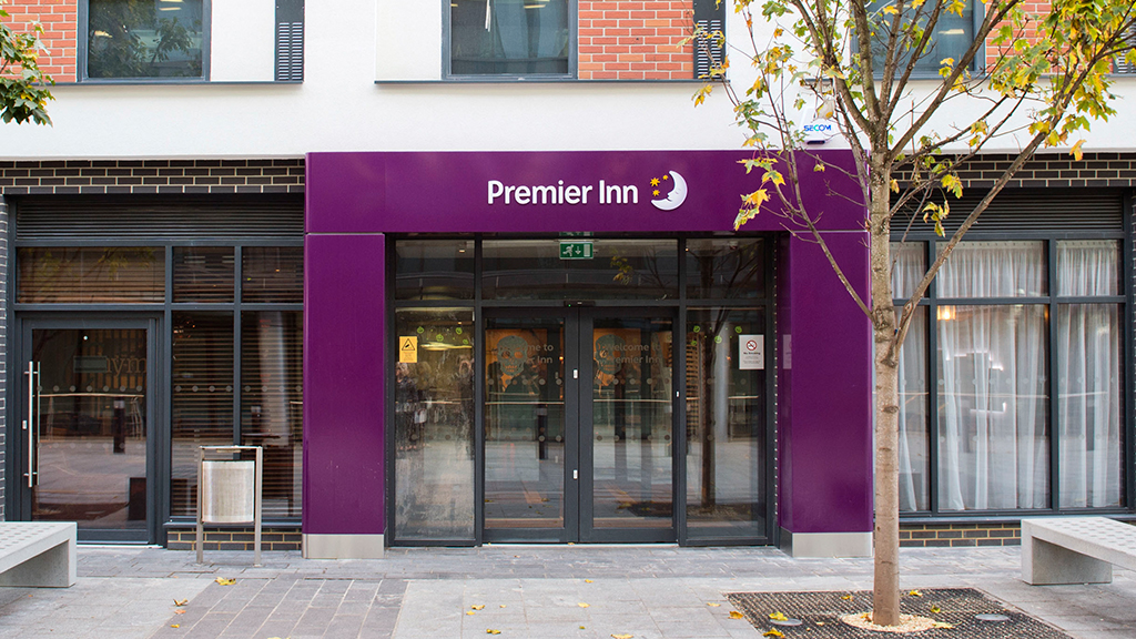 Outside a Premier Inn building