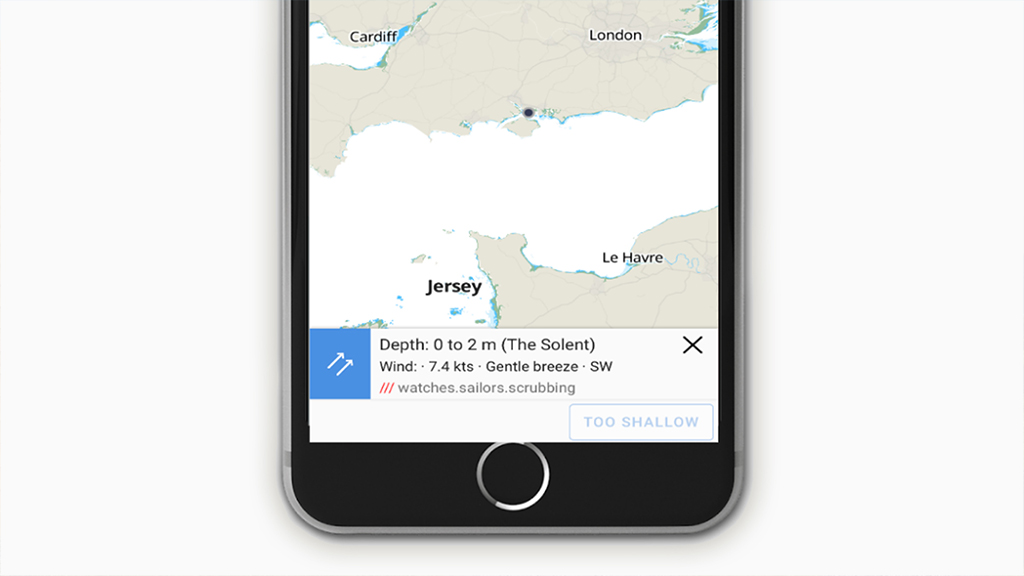 Savvy Navvy boating app using a what 3 words address