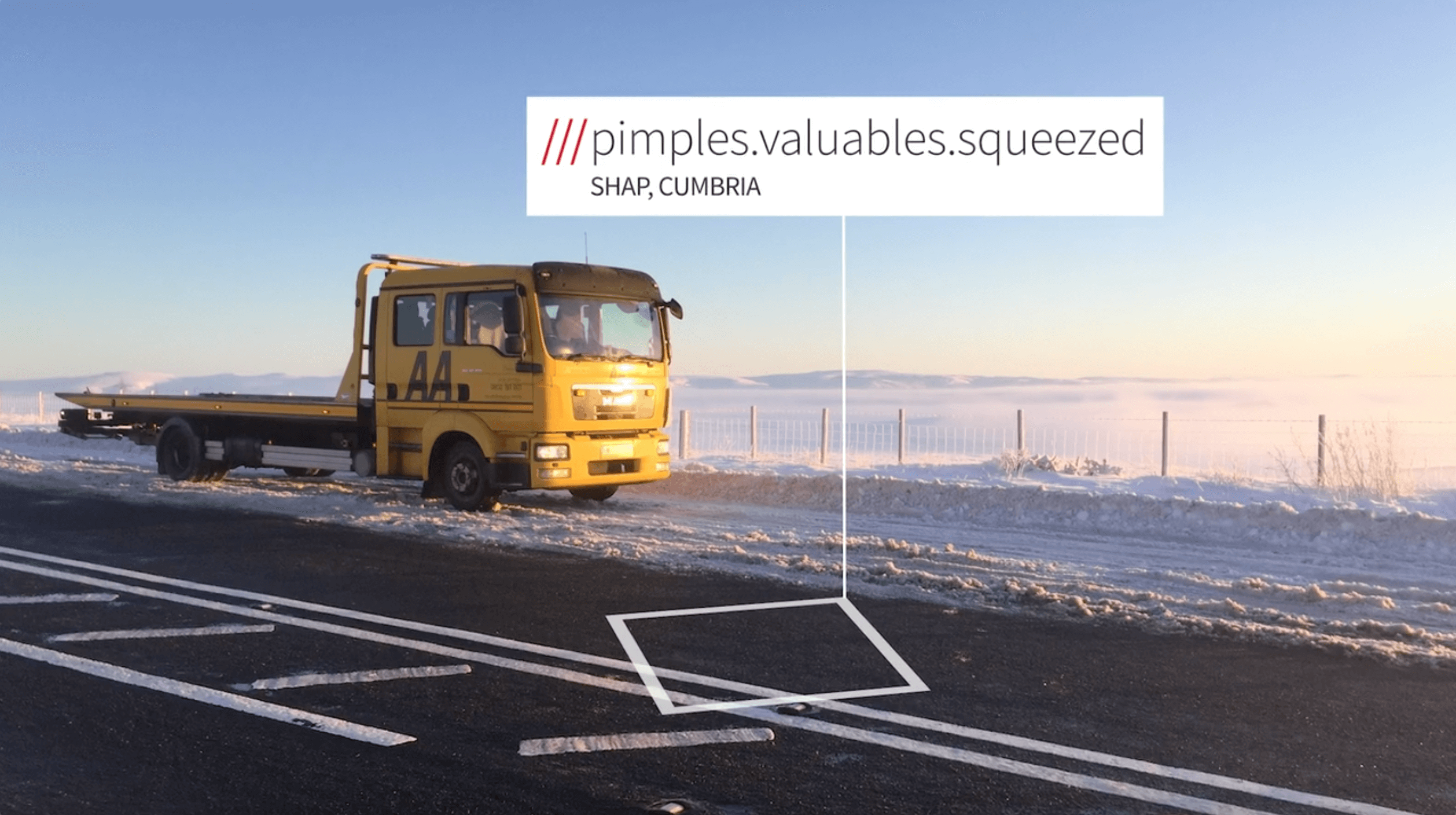 AA pickup truck in snowy weather conditions at 3 words address Pimples.Valuables.Squeezed