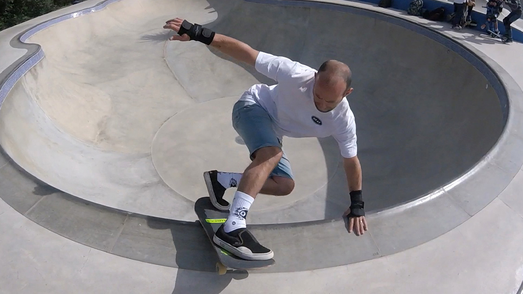 Skateboarder at a skateboard park
