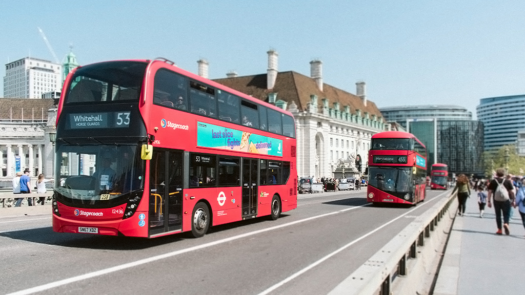 TFL busses driving along a road