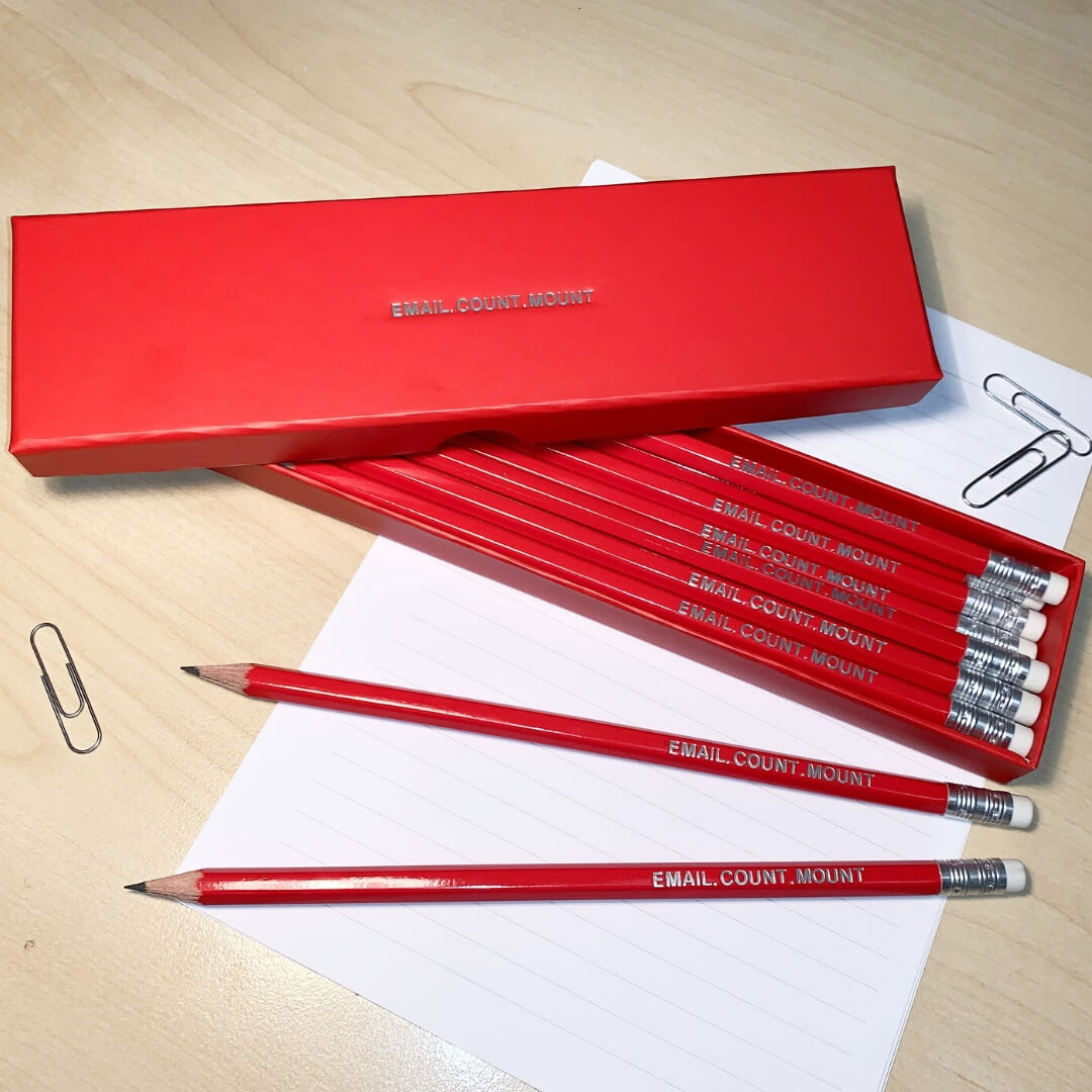 Personalised pencil box and pencils with a what 3 words address Email.Count.Mount