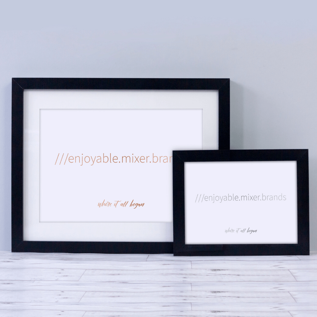 Two personalised calligraphy prints in a frame with a what 3 words address printed on