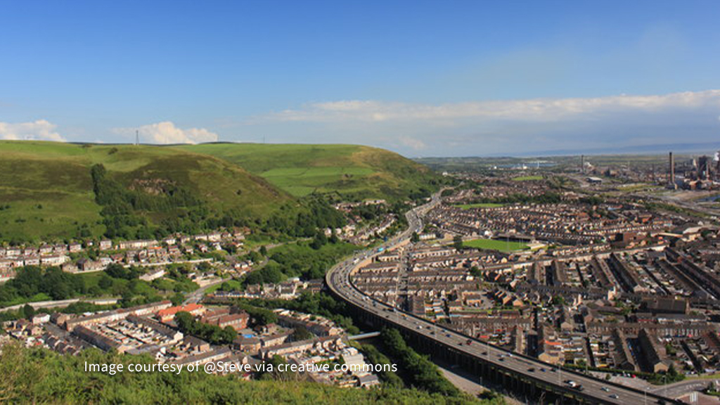Birds eye view of Neath